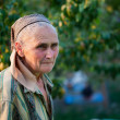 Closeup portrait of a senior woman outside - Stockfoto