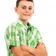 Portrait of a happy schoolboy, isolated on white — Stock Photo #12900625