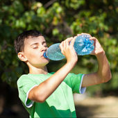 Cute boy drinking water from a bottle — Stock Photo