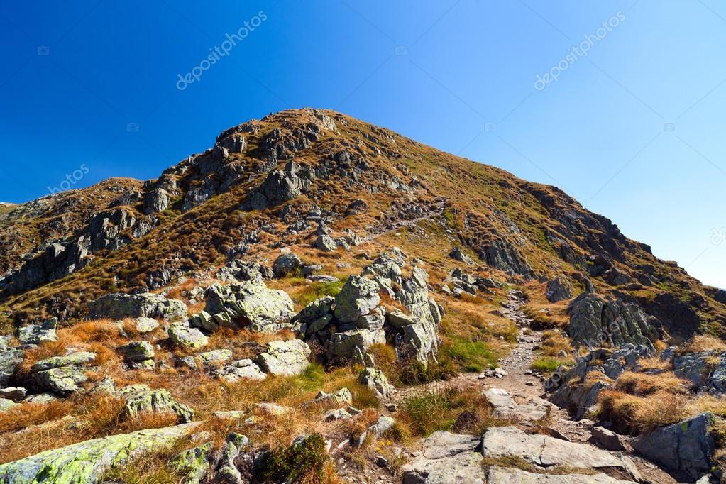 Landscape with mountain trail and clear blue sky — Stock Photo #12900187