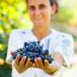 Woman giving grapes - 