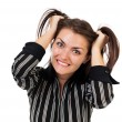 Angry businesswoman pulling her hair — Stock Photo #13756243