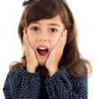 Cute little girl with surprised facial expression — Stock Photo