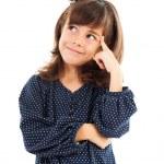 bambina pensando isolato su bianco — Foto Stock