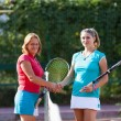 Blonde women tennis players shaking hands - Stock Photo