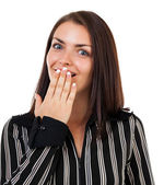 Surprised woman covering her mouth — Stock Photo
