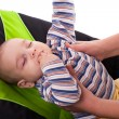 Toddler sleeping in a baby lounger — Stock Photo