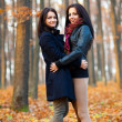 Two young girlfiriends hugging in the woods — Stok fotoğraf