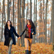 Two happy girlfriends walking in the woods while holding hands — Stockfoto