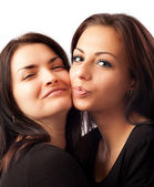 Two happy young girlfriends — Stock Photo