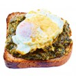 Toast with spinach and egg - Stock Photo