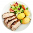 Baked tenderloin with salad — Stock Photo