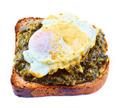 Toast with spinach and egg — Stock Photo