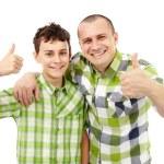 Vater und Sohn-Daumen hoch — Stockfoto