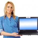 Businesswoman showing laptop display — Stock Photo