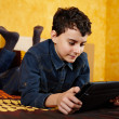 Stock Photo: Young boy studying on digital tablet