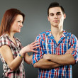 Young woman angry with her husband - Stock Photo