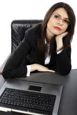 Closeup of businesswoman with laptop — Stock Photo