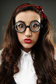 Closeup of geeky schoolgirl — Stock Photo
