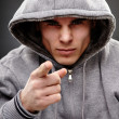 Closeup of a dangerous gangster - Stock Photo