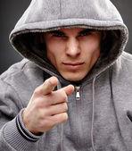 Closeup of a dangerous gangster — Stock Photo