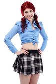 Closeup of redhead schoolgirl — Stock Photo
