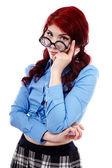 Pensativo joven colegiala en primer plano — Foto de Stock
