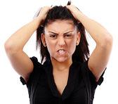 Arg affärskvinna dra håret — Stockfoto