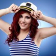 Young sailor girl in closeup — Stock Photo