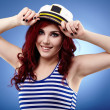 Stock Photo: Young sailor girl in closeup