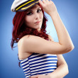 Stock Photo: Pretty female sailor in closeup