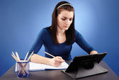 Student working with tablet — Stock Photo