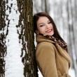 Beautiful brunette leaning on a tree trunk in the winter — Foto Stock