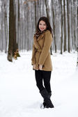 Young woman posing in the forest in the snow — Stock Photo