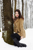 Beautiful brunette leaning on a tree trunk in the winter — Stock Photo