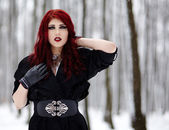 Gothic redhead woman — Stock Photo