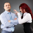Stock Photo: Businessman ignoring angry businesswoman