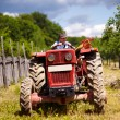 Old farmer driving his tractor — Stock Photo #26659955