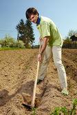 在土地上耕耘的男人 — 图库照片