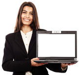 Presenting a laptop, copyspace on the monitor — Stock Photo