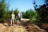 Father and son trekking — Stock Photo