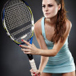 Female tennis player ready to hit — Foto de Stock