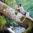 Sexy woman laying on a log — Stock Photo