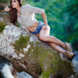 Sexy woman laying on a log — Stockfoto