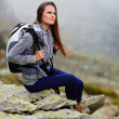 Stock Photo: Womhiker resting