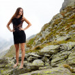 Elegant lady in dress standing on the mountain rocks — Stock Photo