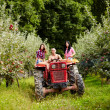 Young farmers on a tractor in the apple orchard — Stock Photo