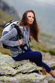 Woman hiker resting — Stock Photo