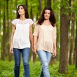 Mother and daughter walking hand in hand — Stock Photo