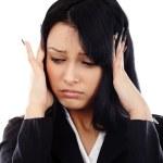 affärskvinna med huvudvärk — Stockfoto